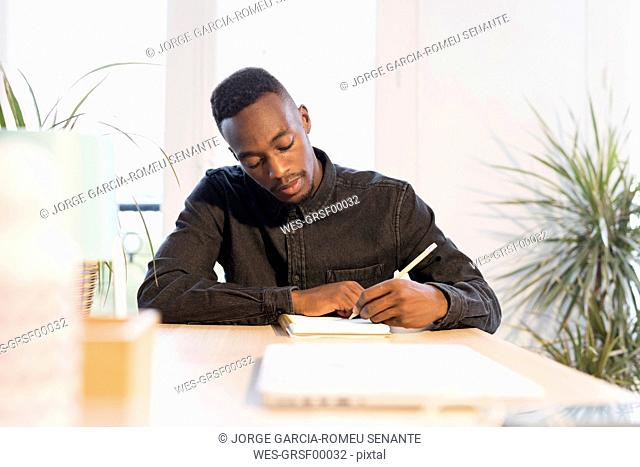 Portrait of young businessman working at desk in the office