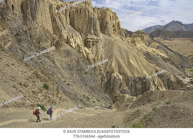 Trekking into moonscape near Lamayuru, Ladakh, India