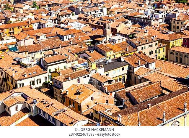 beautiful Italian city Verona from Torre dei Lamberti