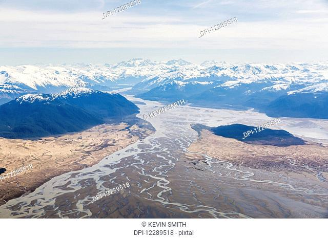 Aerial view of low tide and Woronkofski Island in the Stikine River Delta on a clear day, Wrangell, Southeast Alaska, USA, Spring