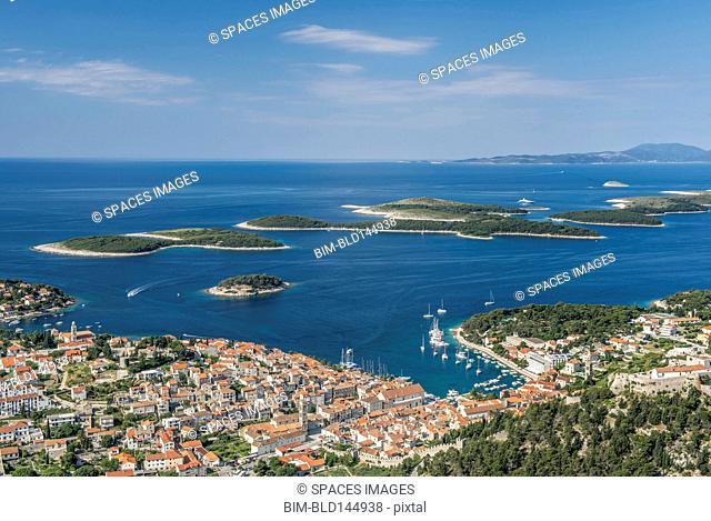 Aerial view of coastal town and islands, Hvar, Split, Croatia