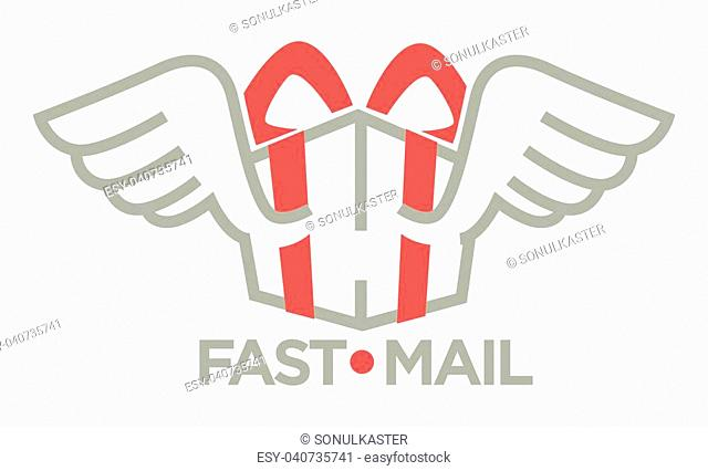 Delivery logo template . Vector isolated icon for post mail, food or online shop express shipping service