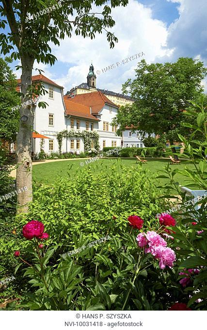 Garden of the Schillerhaus with Heidecksburg in Rudolstadt, Thuringia, Germany