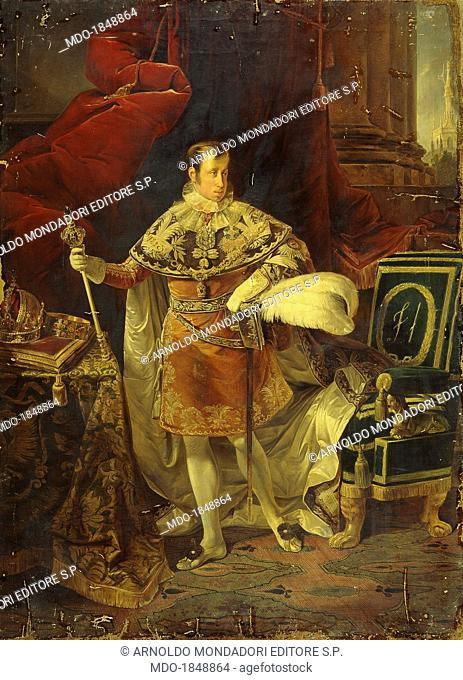 Portrait of Emperor Ferdinand the 1st of Austria, by Giuseppe Molteni, 1838, 19th Century, oil on canvas. Italy, Lombardy, Milan, Brera Collection
