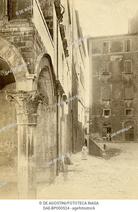 View of via della Gabbia with the loggia of the Priors' palace in the foreground, Perugia, Umbria, Italy, ca 1905