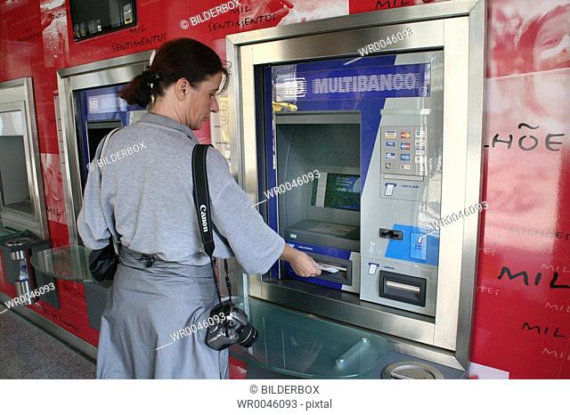 Portugal, Lisbon, cash dispenser