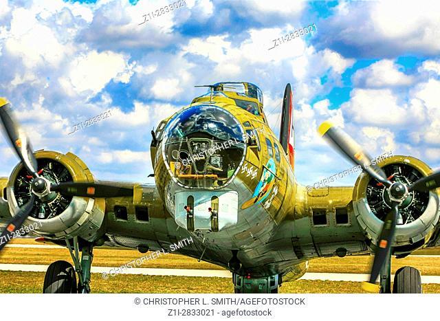 "Boeing B17G """"Nine o Nine"""" WW2 bomber plane at Punta Gorda airport FL on its US tour"