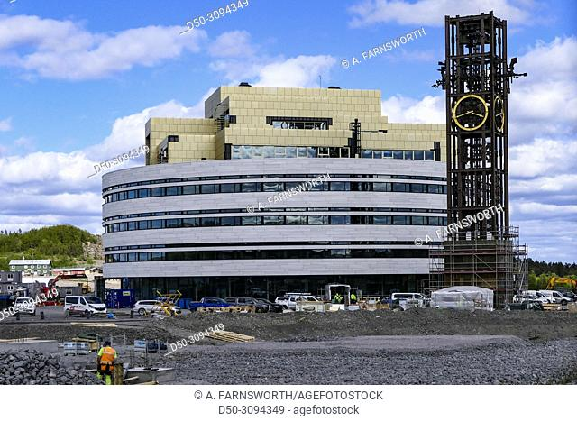 The new town hall being built outside town as part of the massive move of the city due to mining operations. It has been called Kristallen and was designed by...