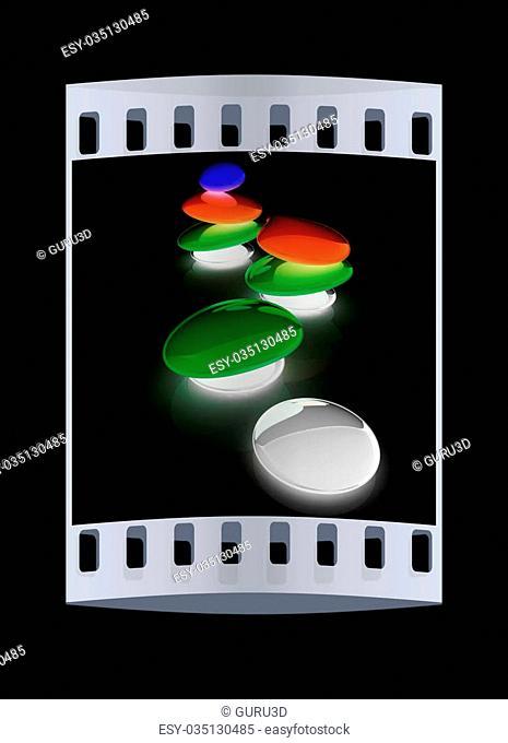 Colorfull spa stones. 3d icon. The film strip