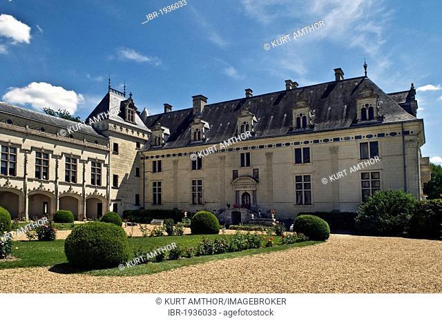 Chateau de Brézé castle, built in 1060, rebuilt in the 16th and 19th century, one of the Loire castles, near Saumur, department of Maine-et-Loire, France