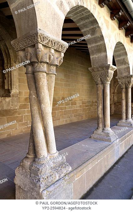 Twisted column in the cloister of the Church of San Pedro de la Rúa in Estella-Lizarra, Navarre, Spain