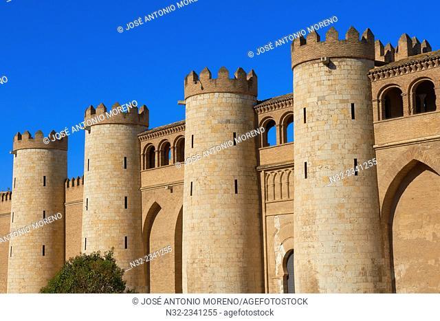 La Aljaferia, Zaragoza, Aljaferia Palace. Cortes de Aragón, Autonomous parliament, Saragossa, Aragon, Spain