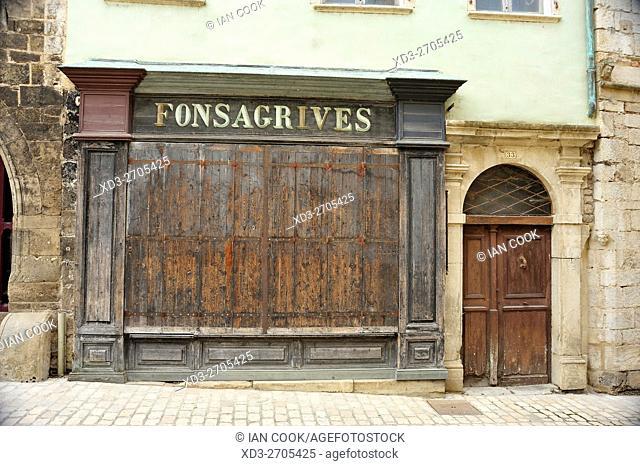 derelict building, Place de la Halle, Saint-Antonin-Noble-Val, Tarn-et-Garonne Department, Midi-Pyrenees, France