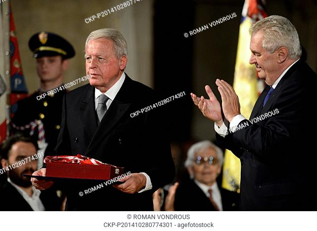 Czech President Milos Zeman (right) bestowed the Order of the White Lion, the highest Czech state award, on former Austrian chancellor Franz Vranitzky at a...