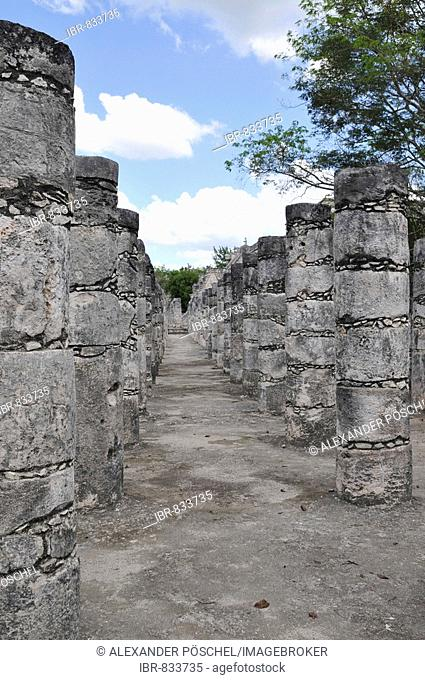 Temple of the Warriors, east colonnade, Zona Nord, Chichen-itza, new wonder of the world, Mayan and Toltec archaeological excavation, Yucatan Peninsula, Mexico