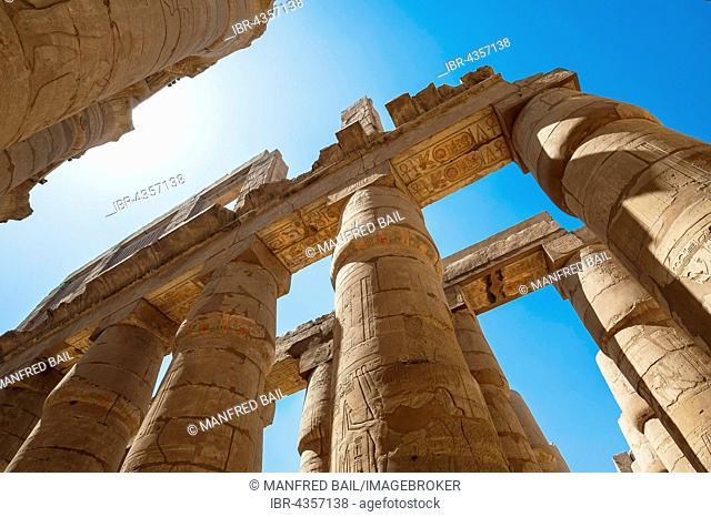 Portico with original color painting, Karnak Temple, Karnak, Luxor, Egypt