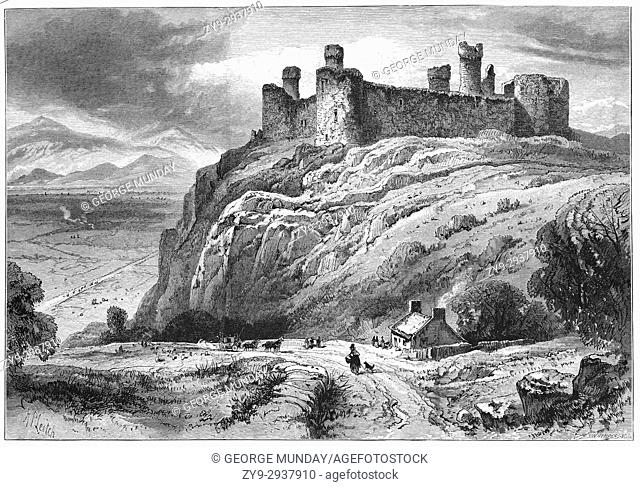 1870: Harlech Castle is a medieval fortification, constructed atop a spur of rock close to the Irish Sea. It was built by Edward I during his invasion of Wales...