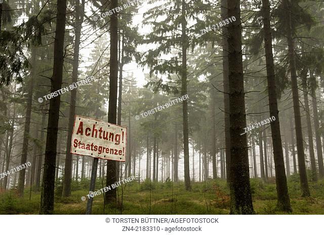 Austrian - Czech State Border in a Coniferous Forest near Sternwald Wind Farm. Austria