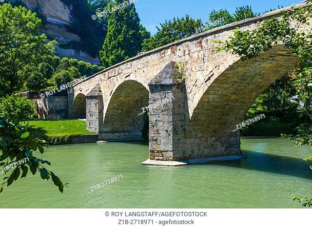 Pont du Milieu across the Sarine River in Fribourg, Switzerland