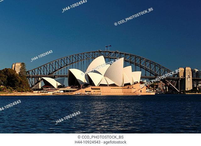 Sydney opuses House, Harbour bridge, Royal Botanical Gardens, opera, opera-house, bridge, botanical garden, harbour, port, water, blue sky, morning, sun