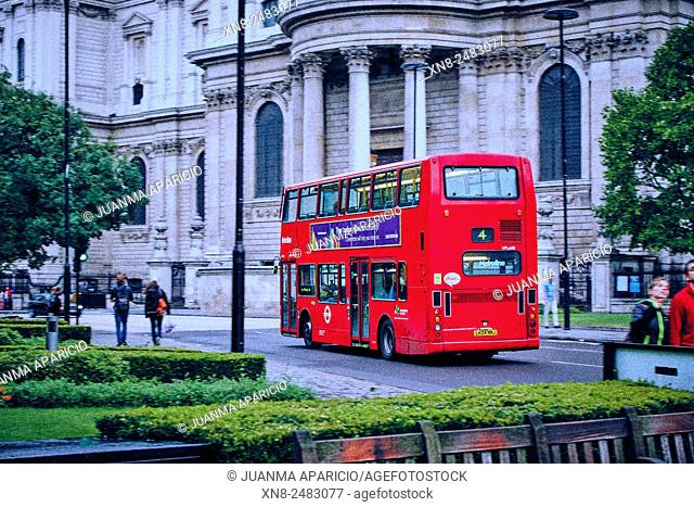Double-decker red buses, London, United Kingdom, Europe