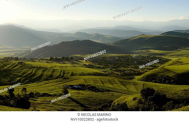 The farmland hills of Midlands Meander, Kwazulu Natal, South Africa