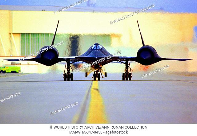 Photograph of a Nasa Lockheed SR-71A taxing on the ramp at NASA's Dryden Flight Research Centre, Edwards, California. Dated 1995
