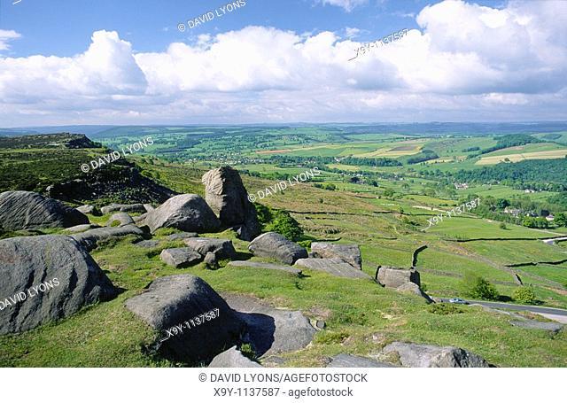 Peak District National Park  Limestone landscape below millstone grit rocks of Curbar Edge, NE of Bakewell, Derbyshire, England