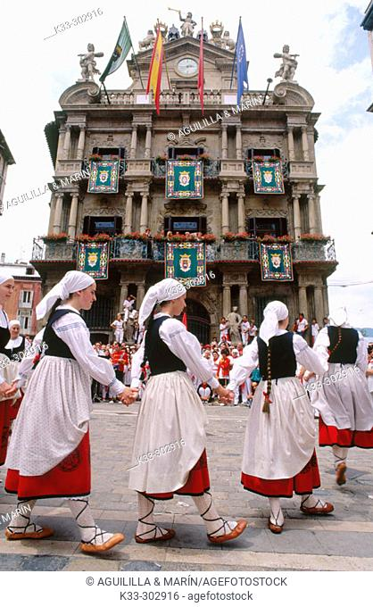 Traditional costumes. San Fermin. Pamplona. Navarre. Spain