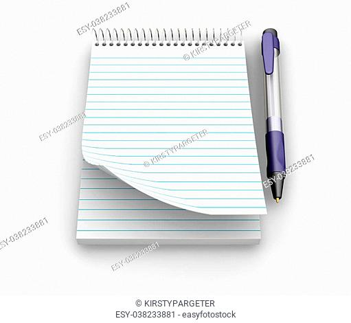 3D render of a notepad and pen