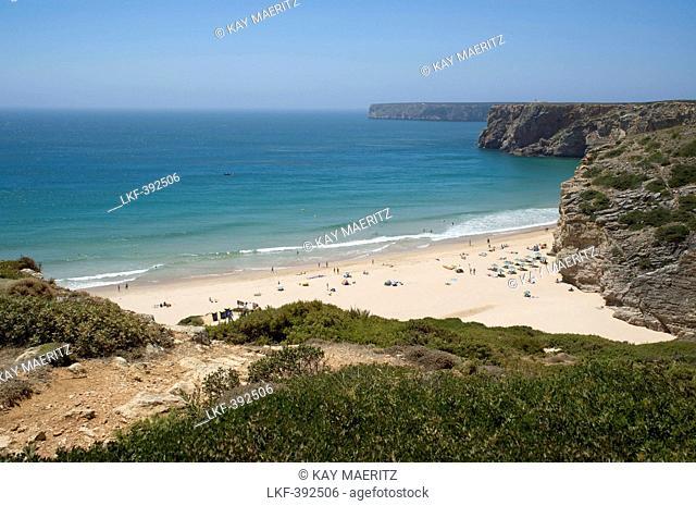 Cove between cliffs with beach, Cabo de Sao Vicente, Atlantic Ocean, Algarve, Portugal, Europe