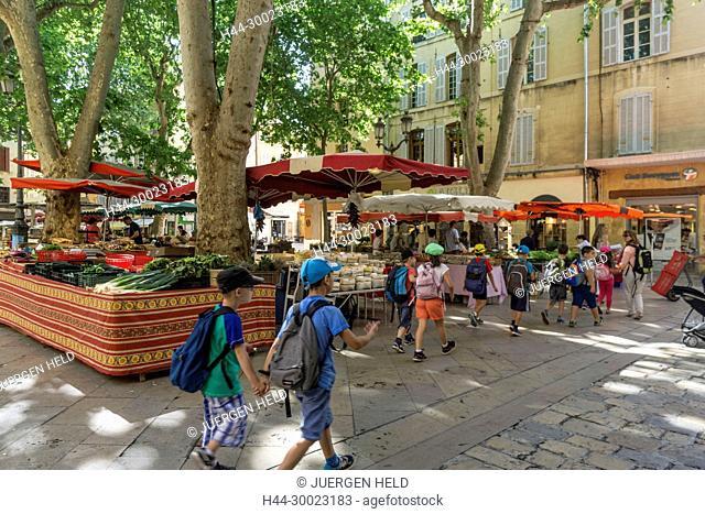 France, Provence-Alpes-Côte d'Azur, Aix-en-Provence, Market an Place Richelme, Products of Provence, Marmelade, Miel, Fruits and Vegetables, Bouche du Rhone