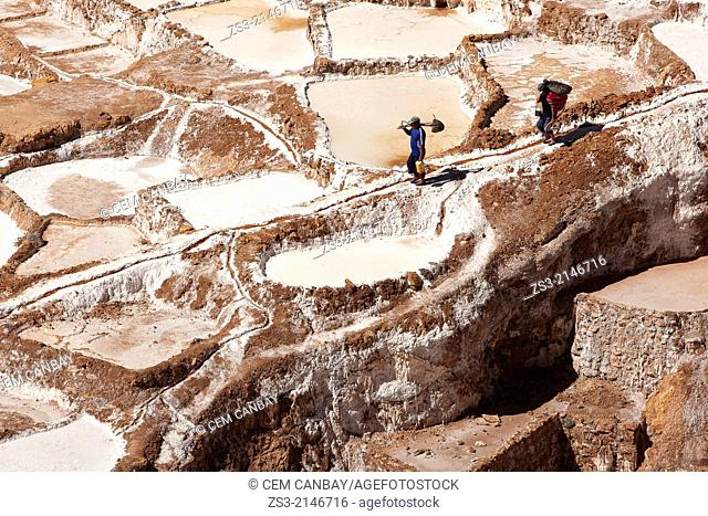 Workers in the salt flats on terraces at Salinas in the village of Maras, Salinas, Cuzco, Peru, South America