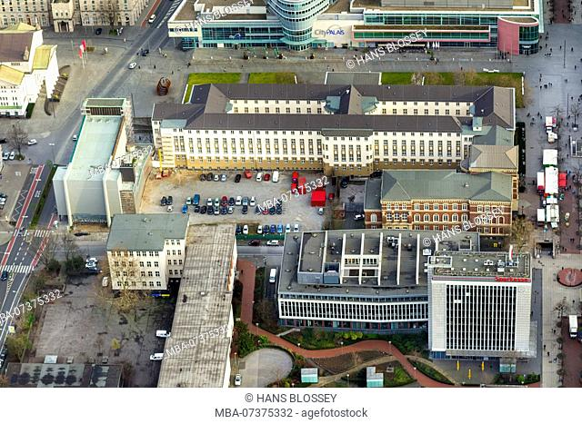 Regional and district court building, Duisburg, Ruhr area, aerial view