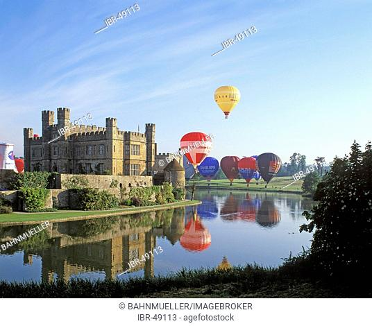Leeds Castle Kent England Great Britain with hot-air balloon