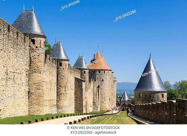 Carcassonne, Languedoc-Roussillon, France. Walls, towers and ramparts of the the Cite de Carcassonne which is a UNESCO World Heritage Site