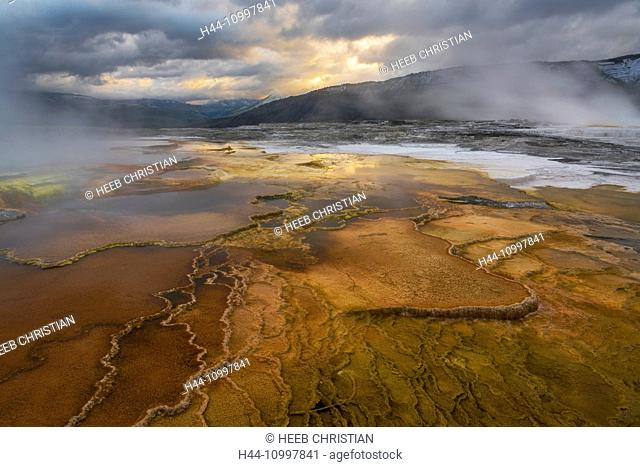 USA, Rocky Mountains, Wyoming, Yellowstone, National Park, UNESCO, World Heritage, Mammoth Hot Springs