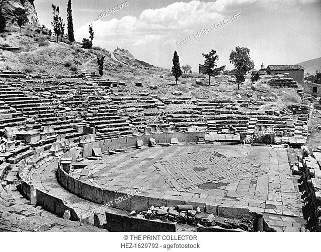 Theatre of Dionysus, Athens, 1937. Ancient Greek amphitheatre at the foot of the Acropolis. Illustration from Das Mittelmeer: Landschaft