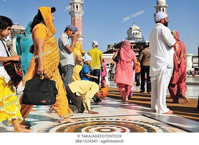 Sikh pilgrims praying for the God in Golden Temple, Punjab Amritsar India