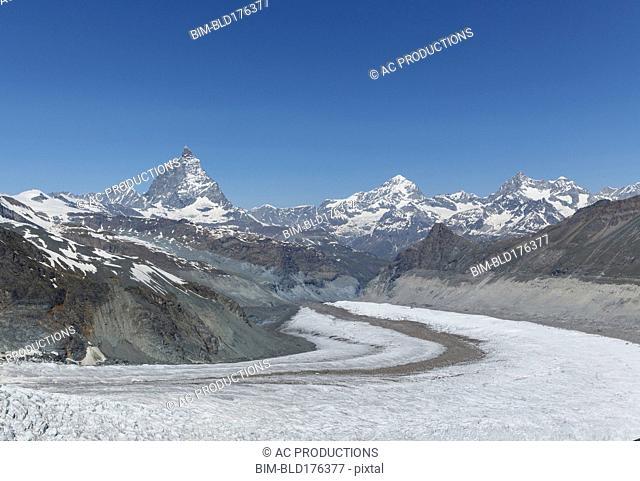 Glacier in remote mountains