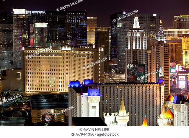 Elevated view of casinos on The Strip at night, Las Vegas, Nevada, United States of America, North America