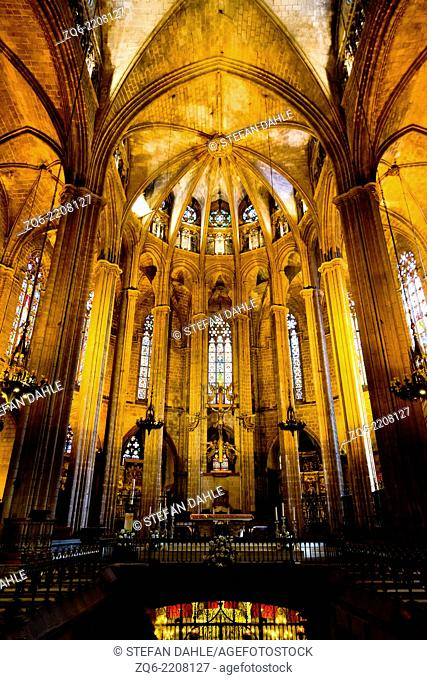 The Altar in the La Seu Cathedral in Barcelona, Spain