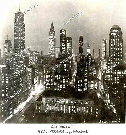 Skyline at Night with Public Library in Foregroung and Chrysler Building in Background, New York City, USA, circa 1930's