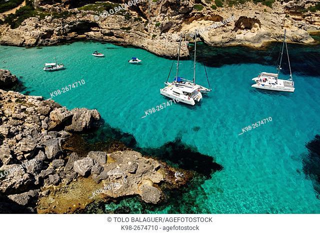 yates fondeados,Cala Marmols, Ses Salines,Majorca, Balearic Islands, Spain