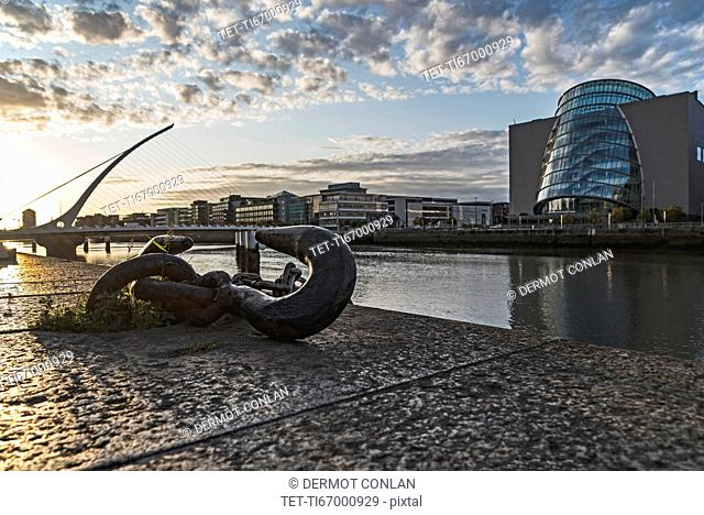 Ireland, Dublin, River Lifley with docklands area