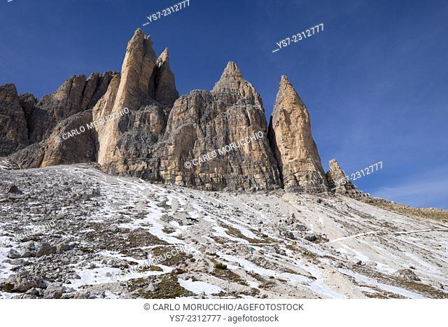 Tre Cime di Lavaredo and the trail around them, Auronzo, Belluno, Italy, Europe