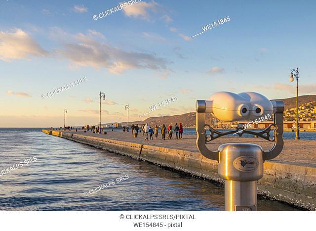 Audace molo in Trieste at sunset. Trieste city, Trieste Province, Friuli Venezia Giulia district, Italy, Europe