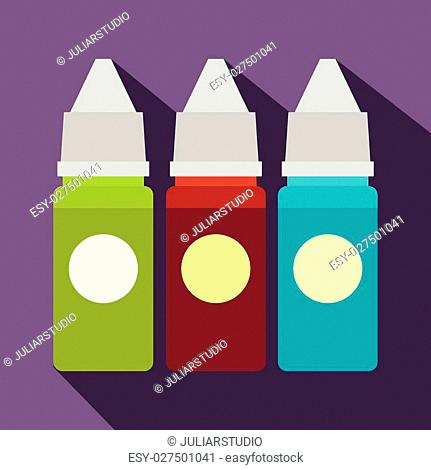 Refill bottles icon in flat style on a violet background