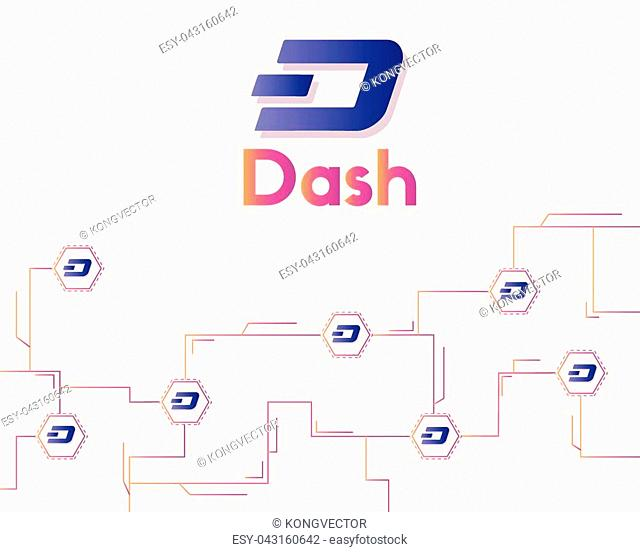 Dash blockchain technology style background vector illustration