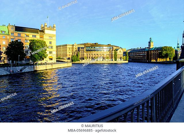 Riksdag (parliament) building at Gamla Stan district in Stockholm, Sweden